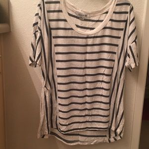 Forever 21 green and beige stripe top